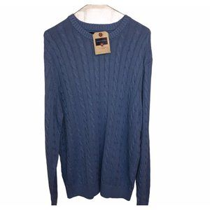 Saddlebred Ladies Cable Knit Sweater Blue Large